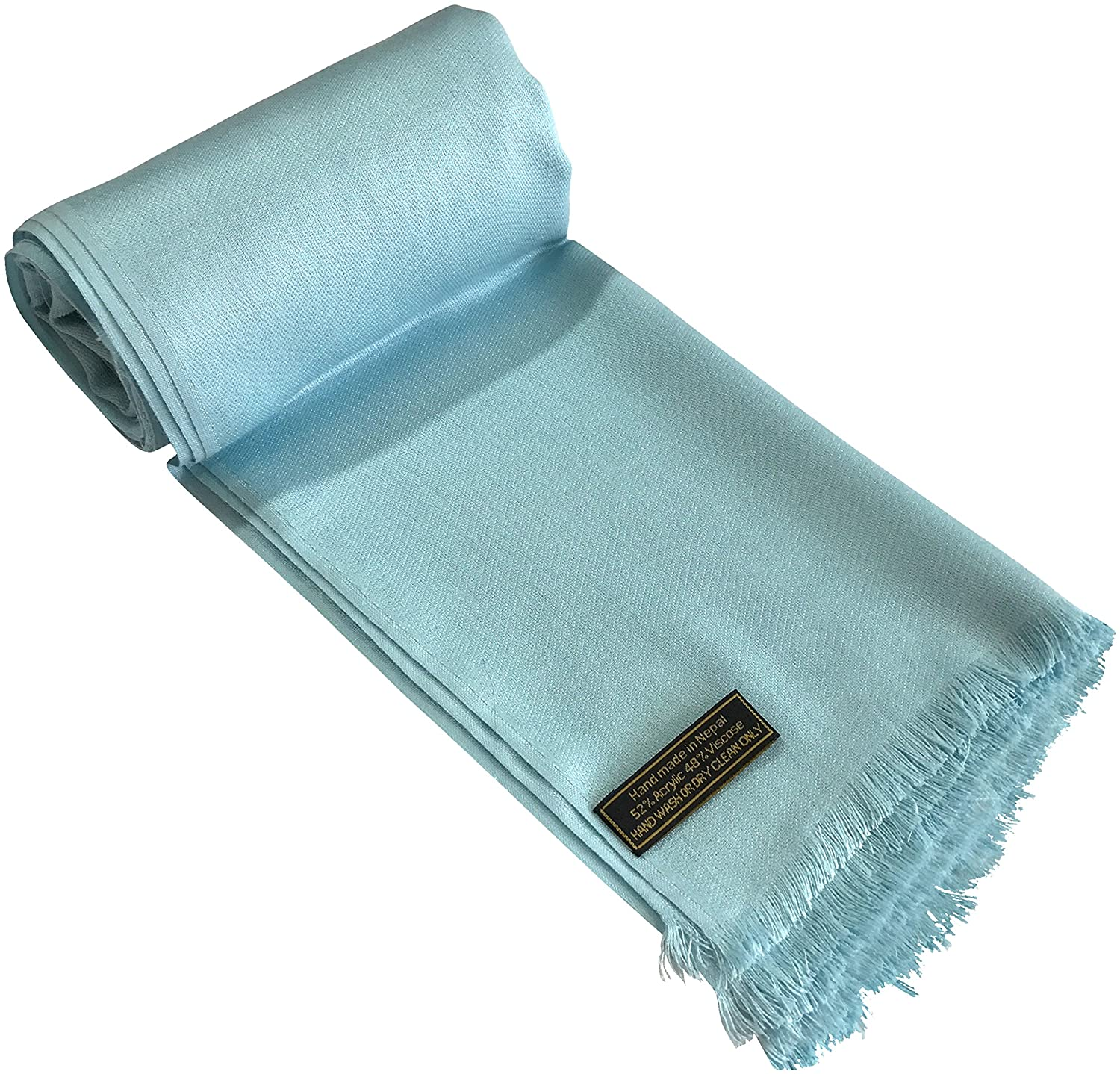 CJ Apparel Baby Blue Solid Color Design Nepalese Fringe Shawl Pashmina Scarf Seconds NEW
