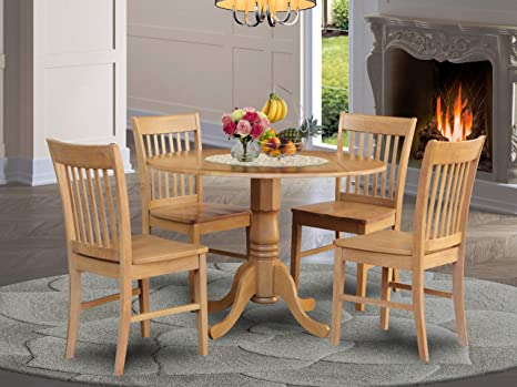 Amazon Com 5 Pc Small Kitchen Table Set Round Table And 4 Dining Chairs Table Chair Sets