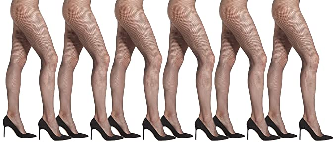 a7f723669b5e5e Womens Fishnet Pantyhose, 6 Pack, Comfortable Nylon Stockings, Sexy Casual  Ladies Mesh Net