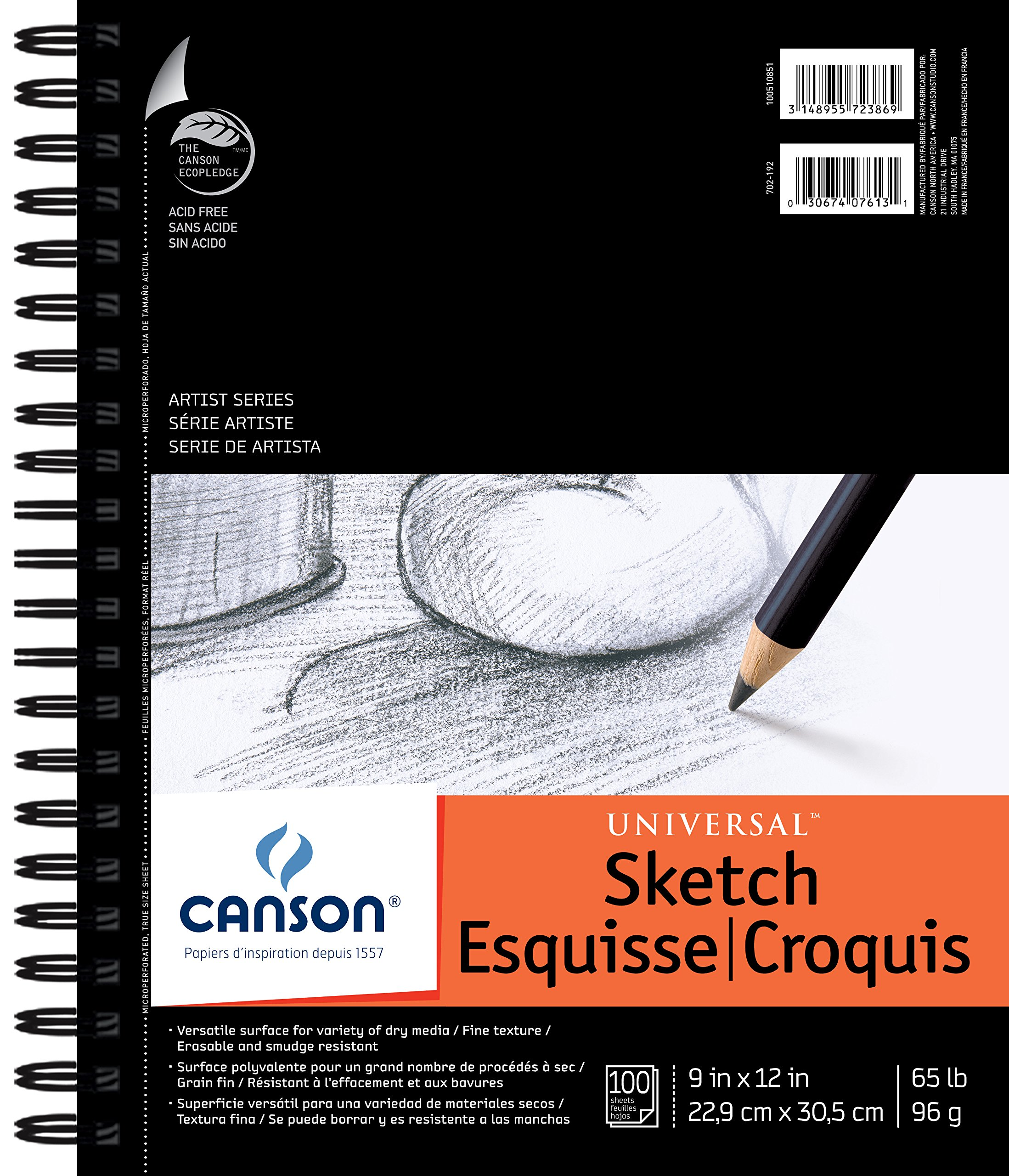 Canson Artist Series Universal Paper Sketch Pad, for Pencil and Charcoal, Micro-Perforated, Side Wire Bound, 65 Pound, 9 x 12 Inch, 100 Sheets by Canson