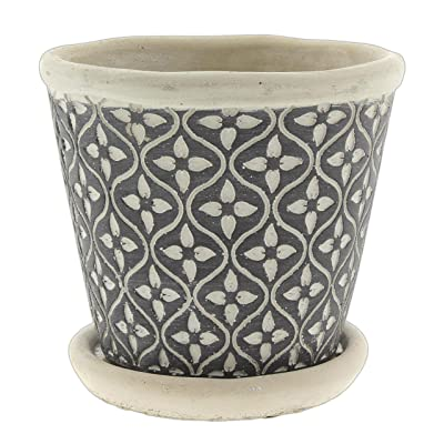 "Lucky Winner Cement Planter with Mod Geometric Pattern and Saucer, 4.5"" : Garden & Outdoor"
