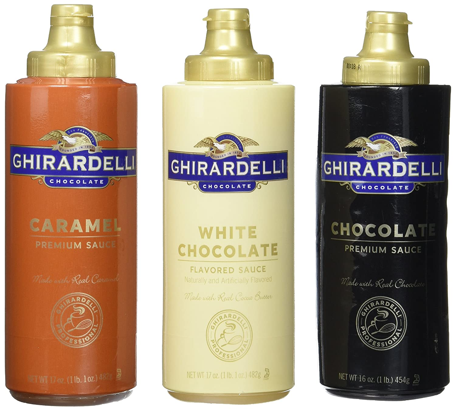 Ghirardelli Chocolate, White Chocolate, and Caramel Flavored Sauces,Squeeze Bottles (Pack of 3)