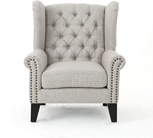 Christopher Knight Home Laird Traditional Winged Fabric Accent Chair, Beige Dark Brown