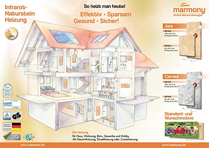 Marmony C780 Infrarotheizung Carrara Inkl. Thermostat 800Watt: Amazon.de:  Baumarkt