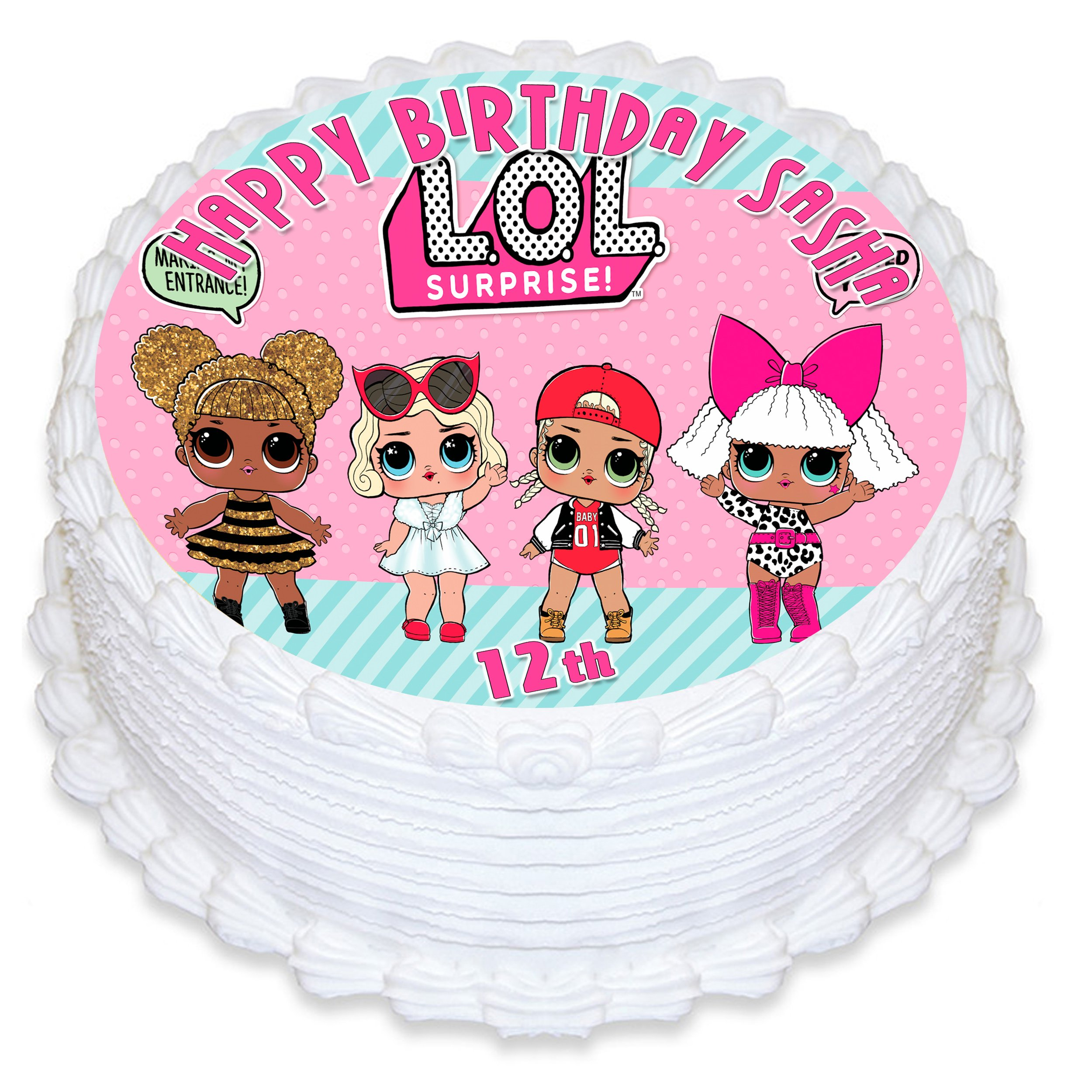 Cake Topper Personalized Birthday 8'' Round Circle Decoration Party Birthday Sugar Frosting Transfer Fondant Image ~ Best Quality Edible Image for Cake Lol Suprise Dolls