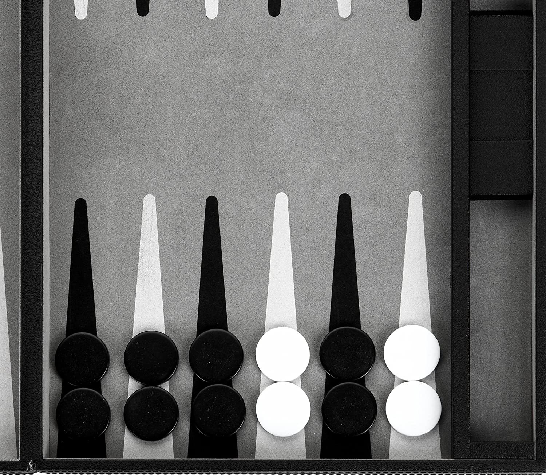 18 Black /& White Backgammon Set with 1.25 Gamepiece