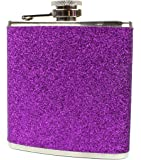 Stainless Steel With Colorful Glitter Hip Flask - Stores 6 Ounces (Purple)