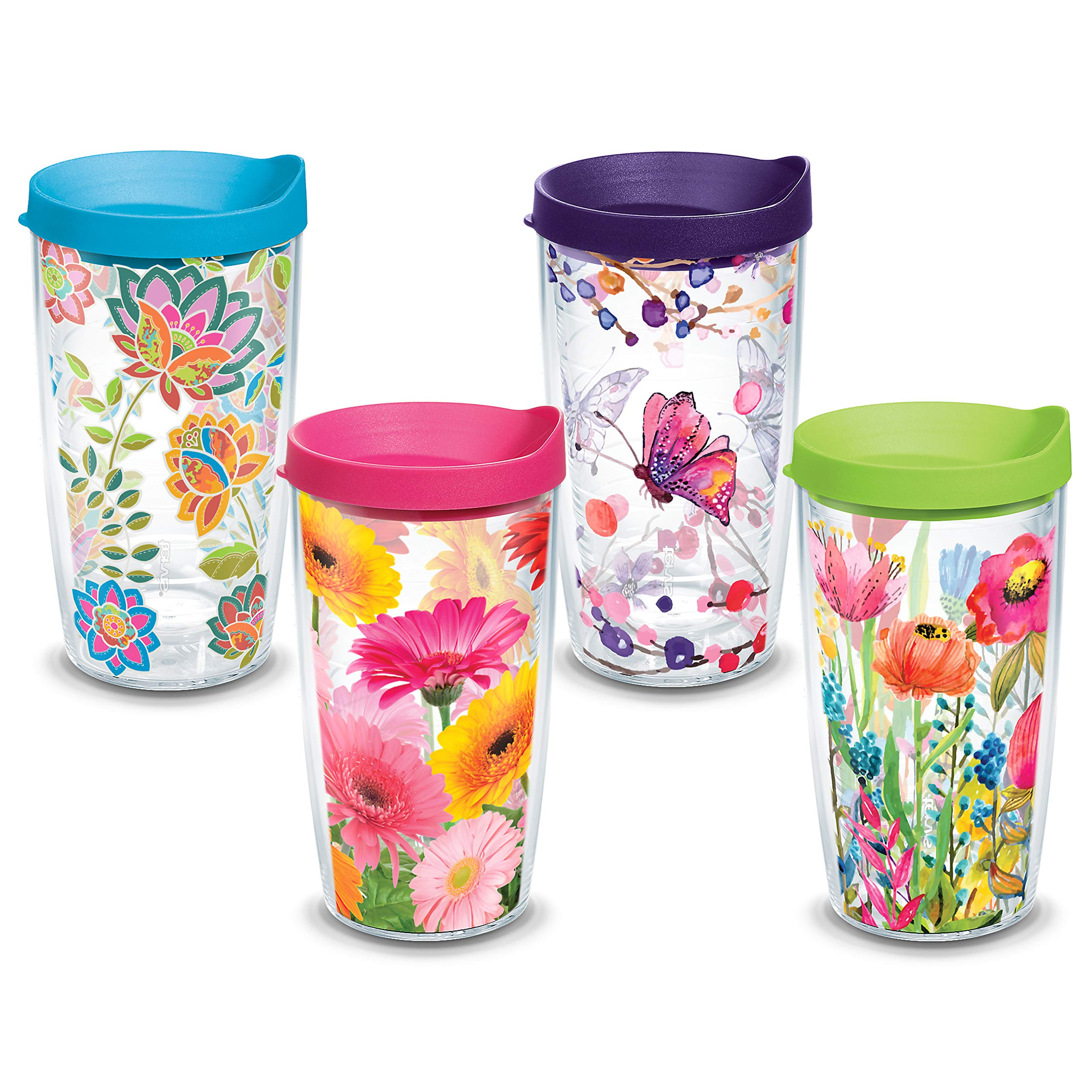 Tervis 16oz, Set of 4 Tumblers, Assorted Prints Flowers & Butterflies with Lid (16oz Set of 4 Assted, Clear)