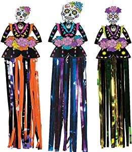 4E's Novelty Day of The Dead Sugar Skull Hanging Decorations (3 Piece Set - Hangs 3 feet) Dia de Los Muertos Party Decorations Supplies, Halloween Decor