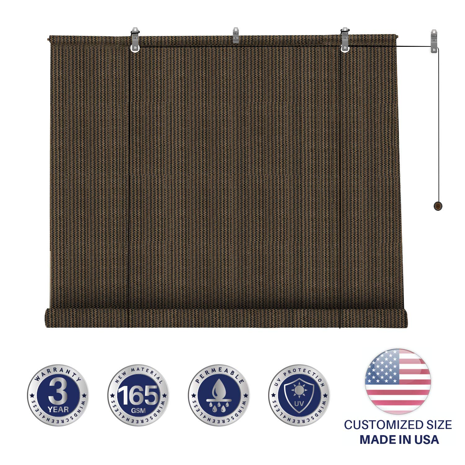 Windscreen4less Exterior Roller Shade Blinds Outdoor Roll Up Shade with 90% UV Protection Privacy for Deck Back Yard Gazebo Pergola Balcony Patio Porch Carport 7' W x 6' L Brown by Windscreen4less