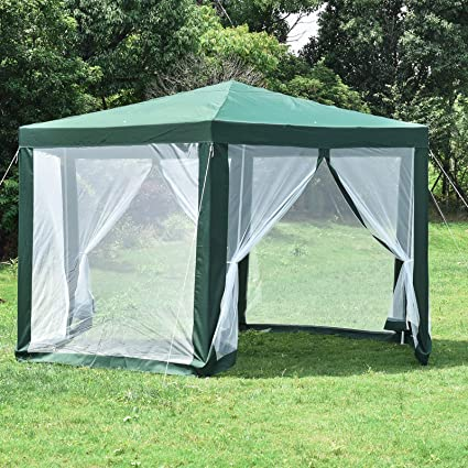 Bonebit Hexagonal Patio Gazebo Outdoor Canopy Party Tent Event With  Mosquito Net Green