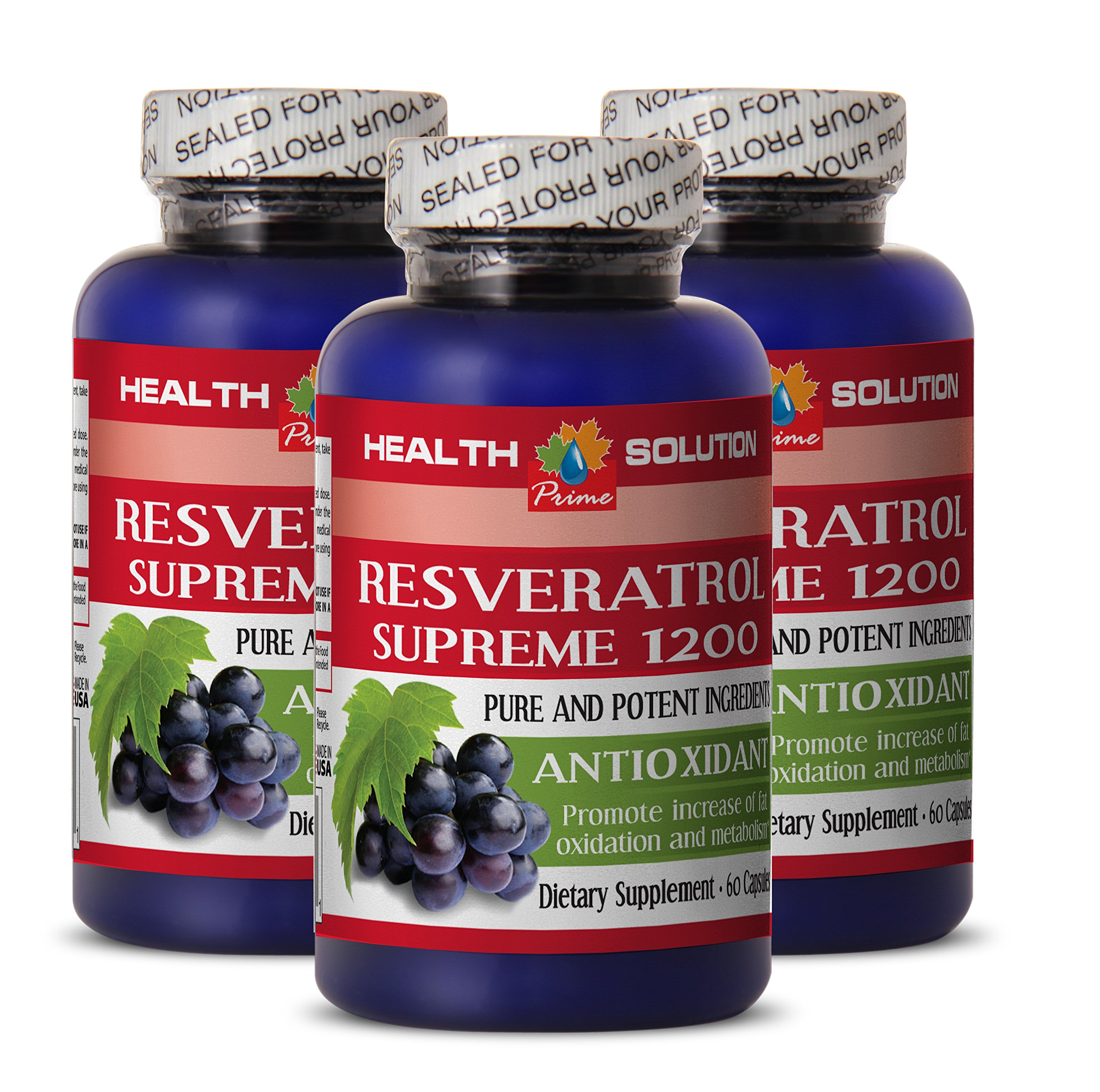 Resveratrol 1200 - RESVERATROL SUPREME 1200MG - help with weight loss (3 Bottles)