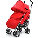 ZETA VOOOM - Warm Red COMPLETE + Deluxe 2in1 FOOTMUFF WITH POUCHES liner zip off padded Warm Red + HEADHUGGER + RAINCOVER