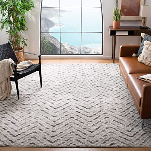 Safavieh Adirondack Collection ADR104N Ivory and Charcoal Modern Distressed Chevron Area Rug 4 x 6