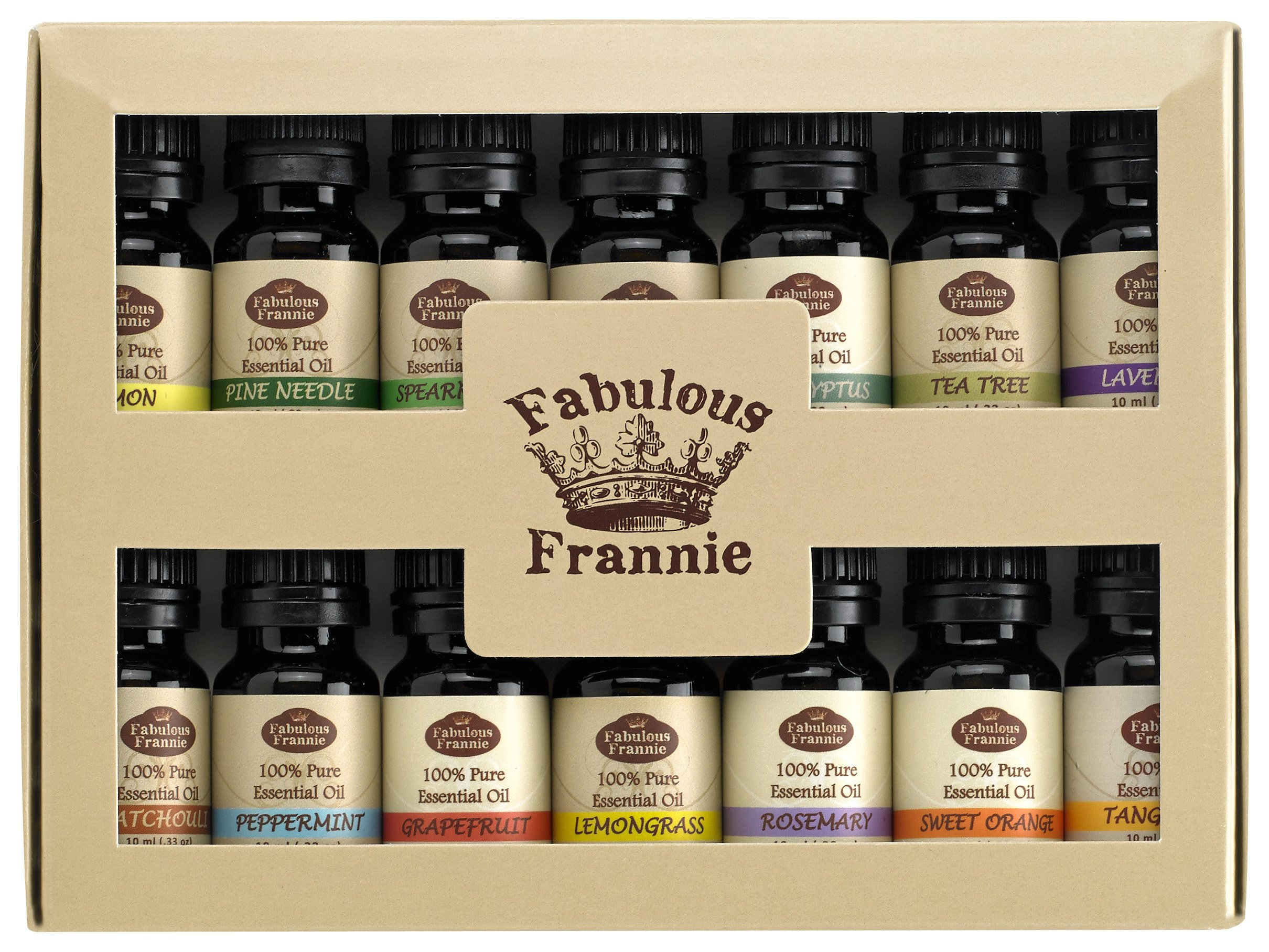 Fabulous Frannie - Aromatherapy Top 14 Essential Oil Set, 100% Pure - .33oz Size Bottles