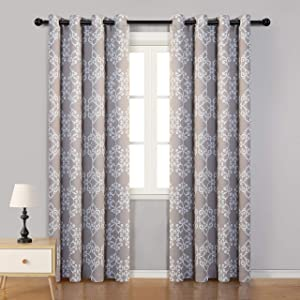 MYSKY HOME Morrocan Thermal Insulated Blackout Curtain 95 Inch Length, Grommet Room Darkening Window Curtains for Living Room,Bedroom,52 inches x 95 inches,Taupe,2 Panels
