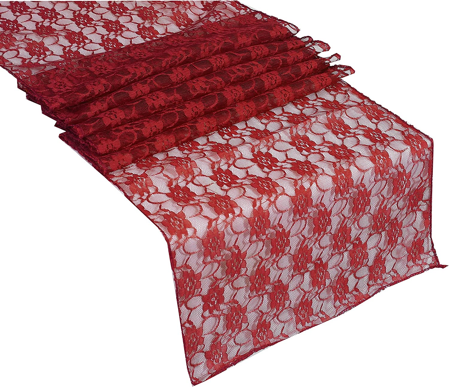 mds Pack of 10 Wedding 12 x 108 inch Lace Table Runner for Wedding Banquet Decor Table Lace Runner- Apple red