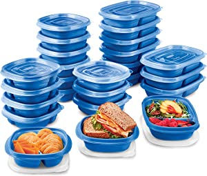 Rubbermaid TakeAlongs On The Go Food Storage and Meal Prep Containers, Set of 25 (50 Pieces Total), Marine Blue