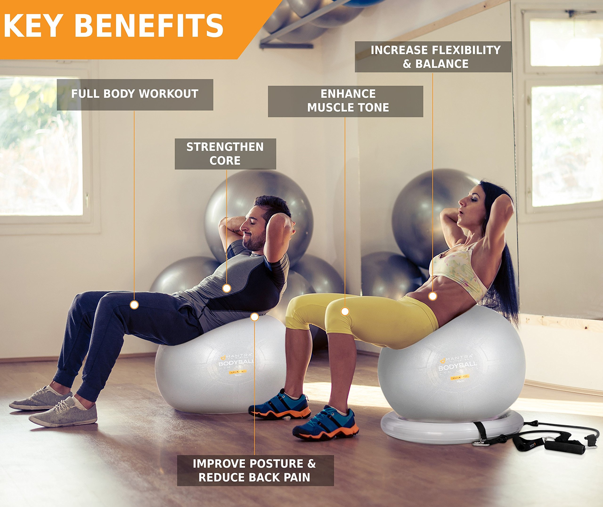 Exercise Ball Chair - 65cm & 75cm Yoga Fitness Pilates Ball & Stability Base for Home Gym & Office - Resistance Bands, Workout Poster & Pump. Improves Balance, Core Strength & Posture - Men & Women by Mantra Sports (Image #7)