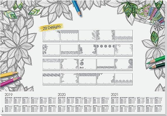 SIGEL HO540 Vade, bloc de notas, 20 diseños diferentes para colorear, calendarios trianuales, A2 (59,5 x 41 cm), blanco y negro, 20 hojas