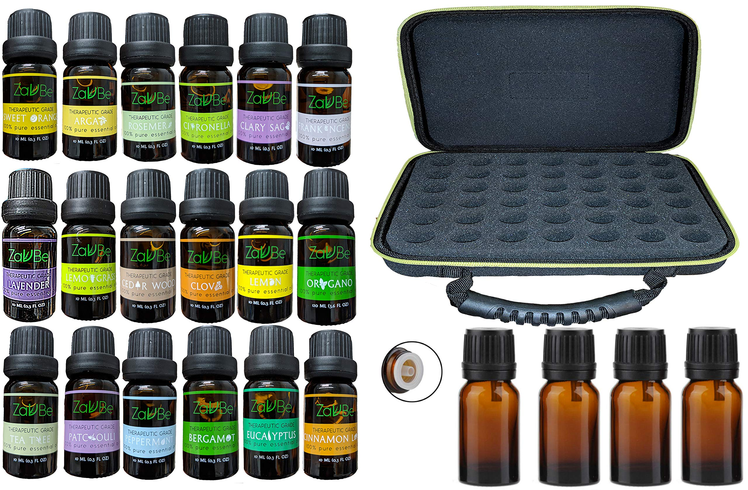18 Essential Oil Set with FREE 42 Holes EVA Case Diffuser Aromatherapy 100% Therapeutic Grade Clove Clary Sage Lemon Bergamot Lavender Peppermint Tea Tree Argan Rosemary Frankincense Citronella by MABUA