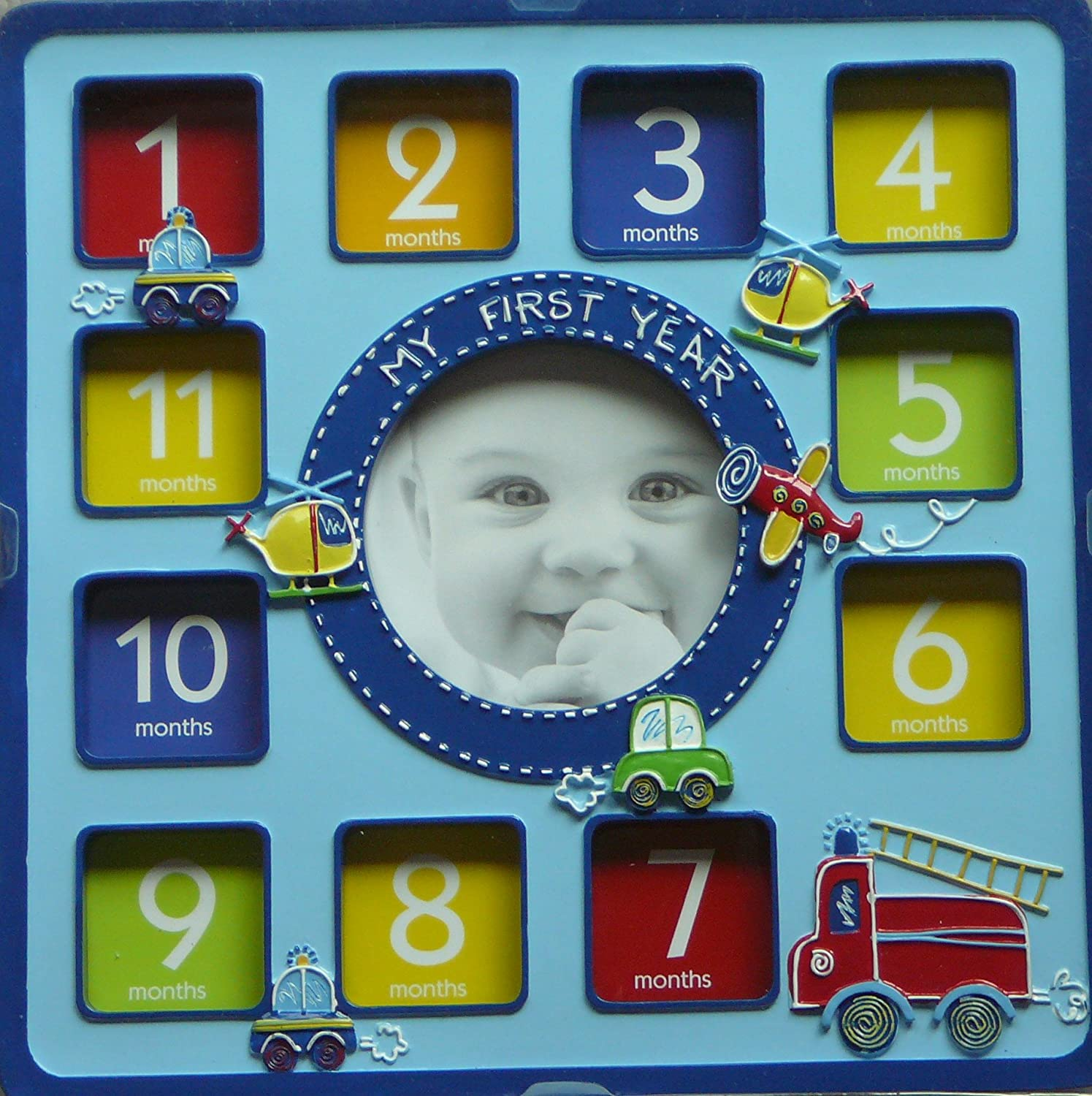 Amazon.com : First Impressions My First Year Photo Frame - Baby Boy ...