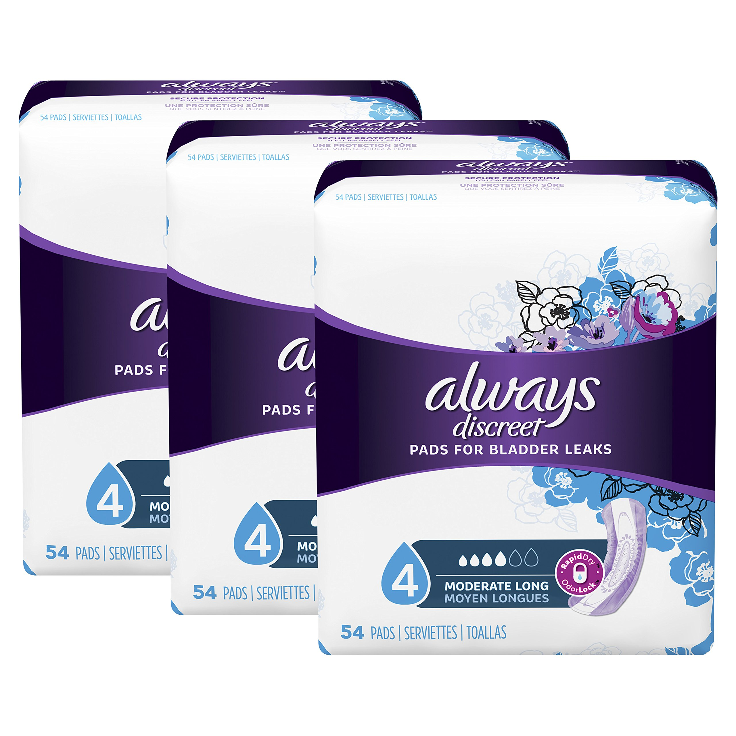 2a02aee57a723 Always Discreet Incontinence Pads for Women, Moderate Absorbency, Long  Length, 54 Count -