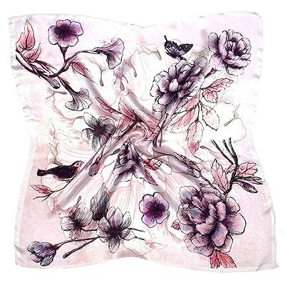 Écharpe Carrée En Soie Épaisse À Imprimé Fleurs Roses