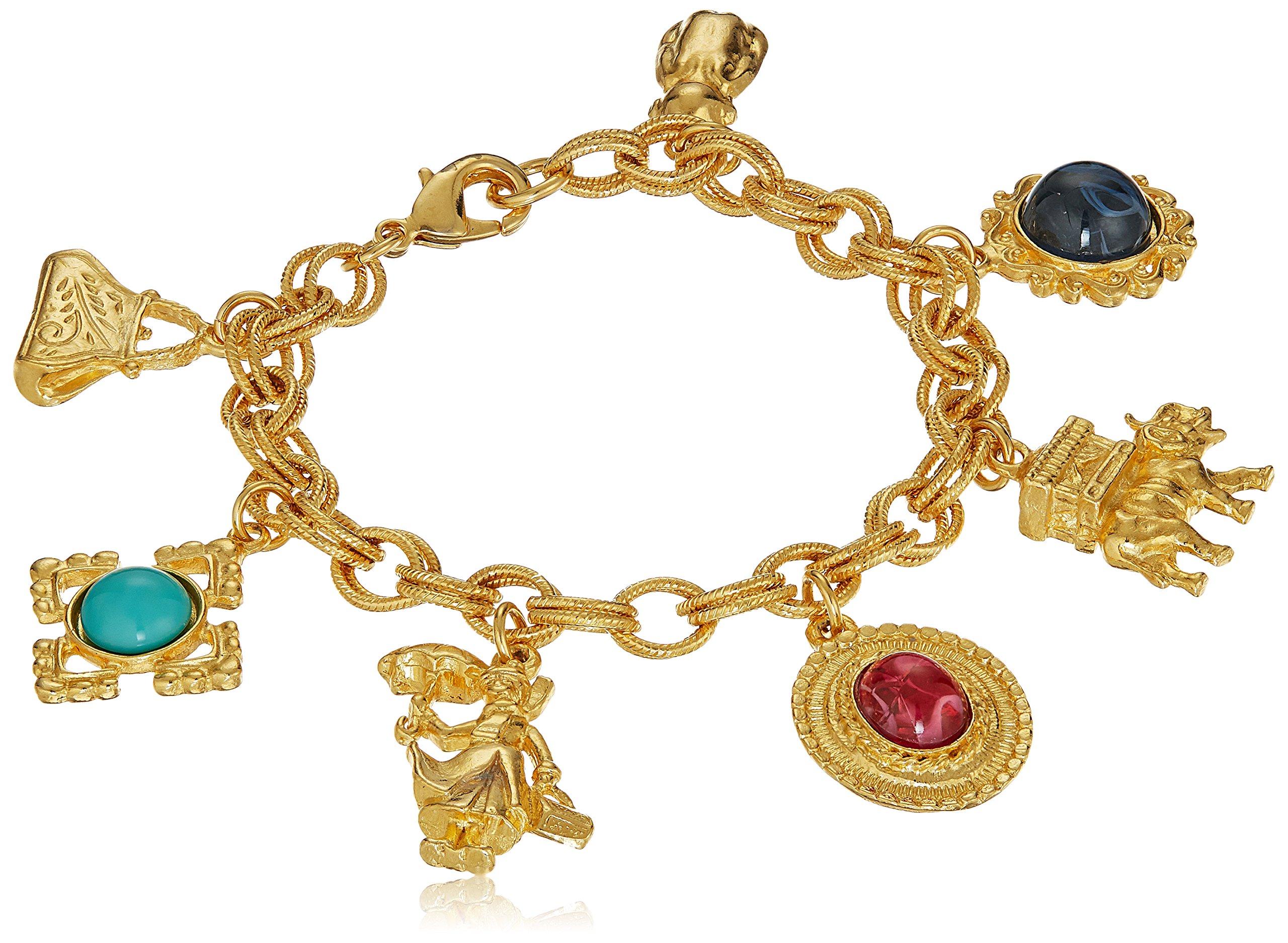 Ben-Amun Jewelry Royal Charm Multi Glass Stone Gold Charm Bracelet by Ben-Amun Jewelry