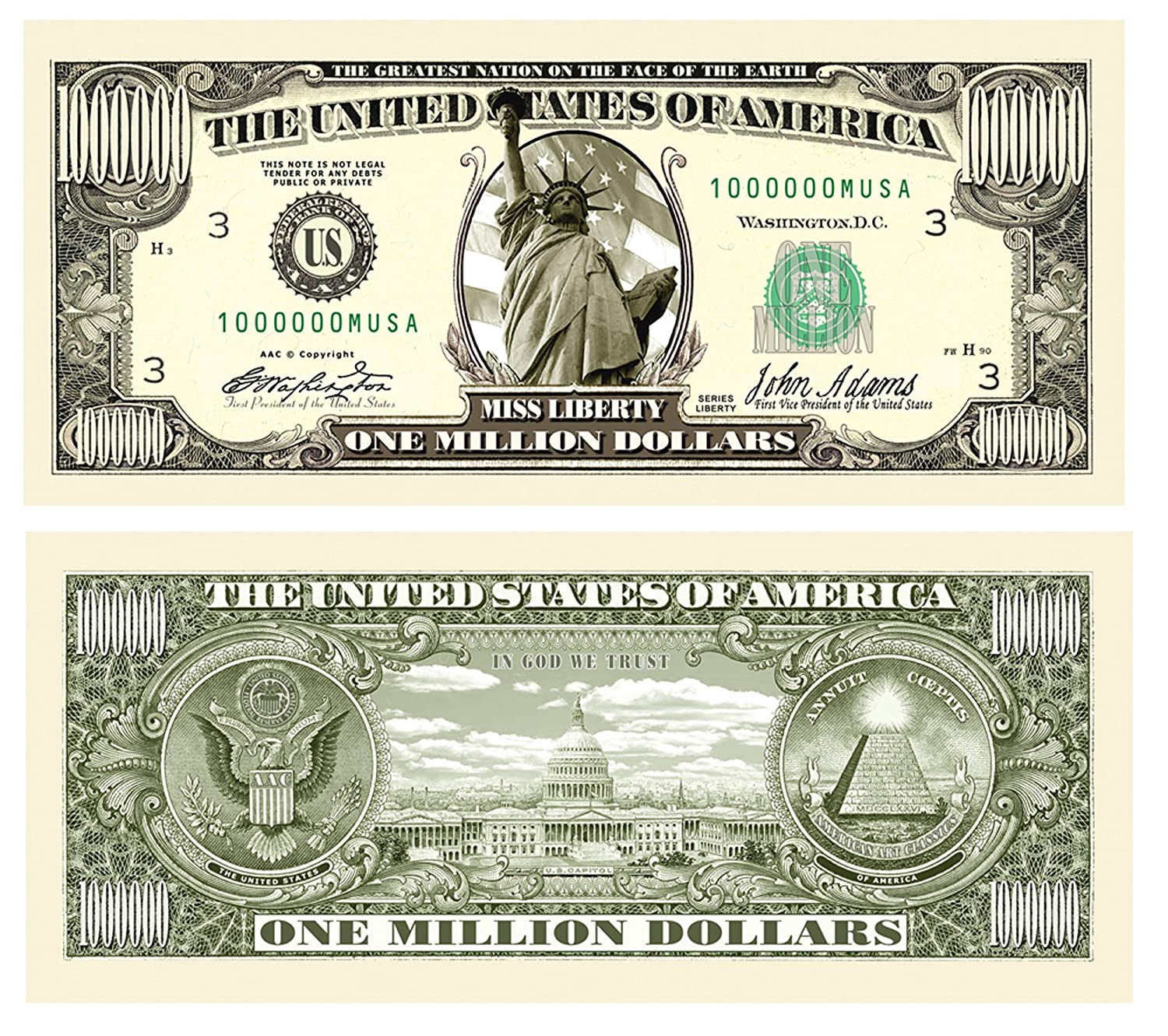 American Art Classics Pack of 10 - Traditional Million Dollar Bills