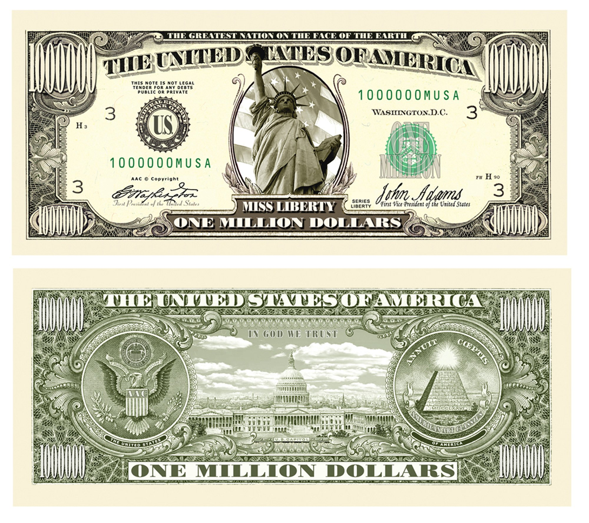 American Art Classics Set of 50 - Traditional Million Dollar Bill