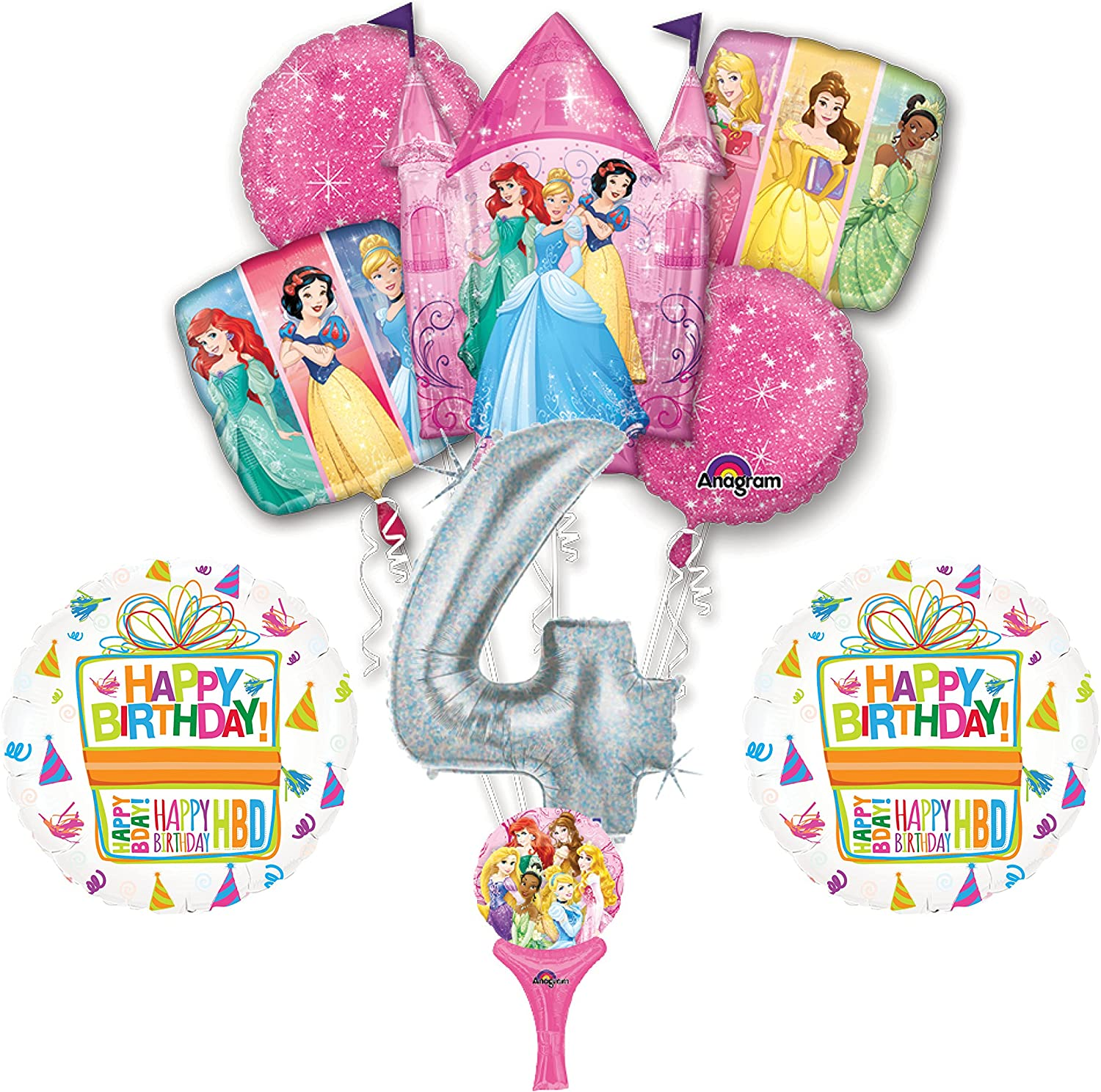 Amazon.com: NUEVO. 9pc Disney Princess 4th Globos para ...