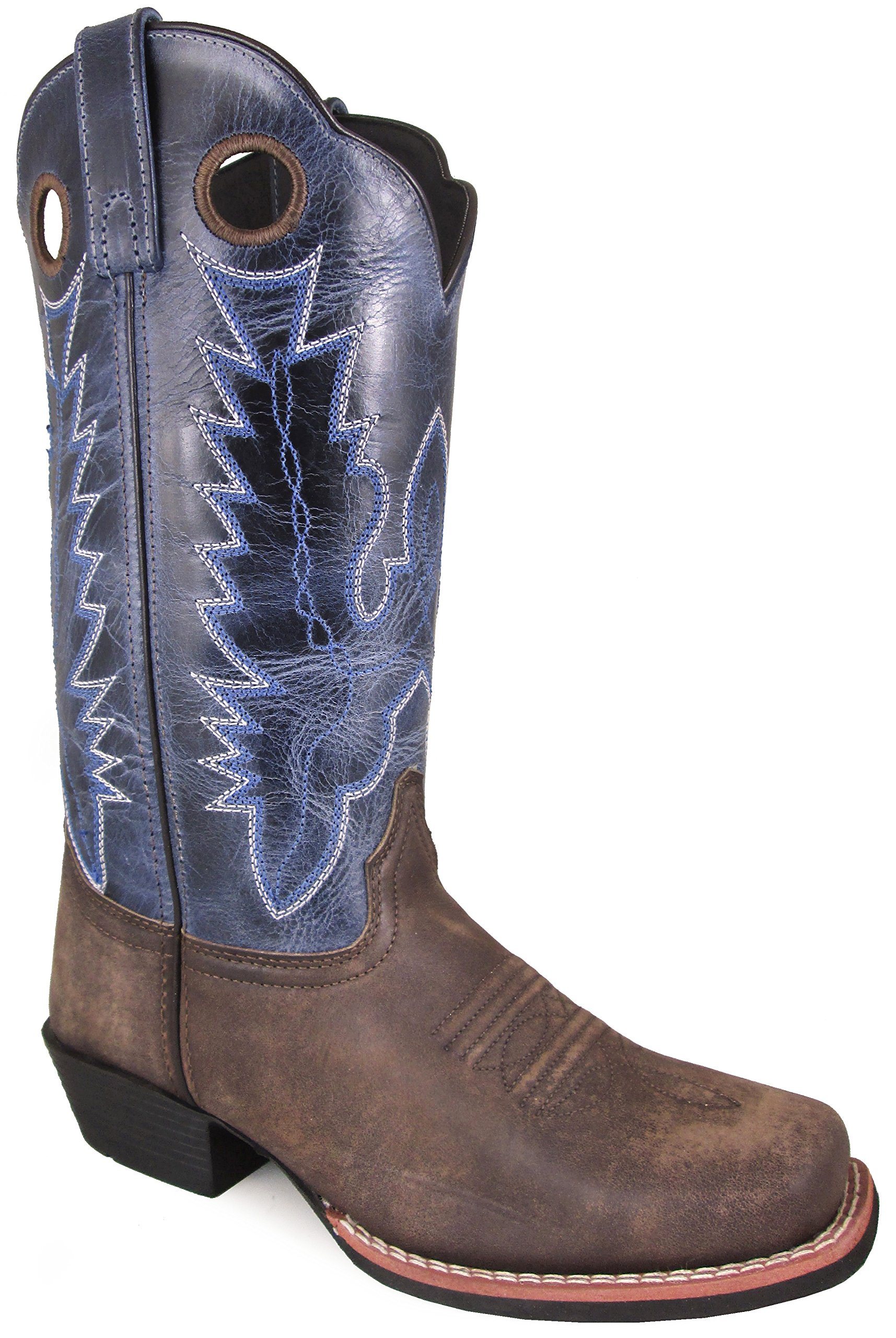 Smoky Mountain Women's Mesa Square Toe Pull On Brown Oil Distressed/Navy Crackle Boots 9M