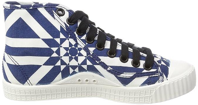 G-STAR RAW Rovulc Mid, Baskets Hautes Femme, Multicolore (Milk/DK Saru Blue AOP 9280), 38 EU