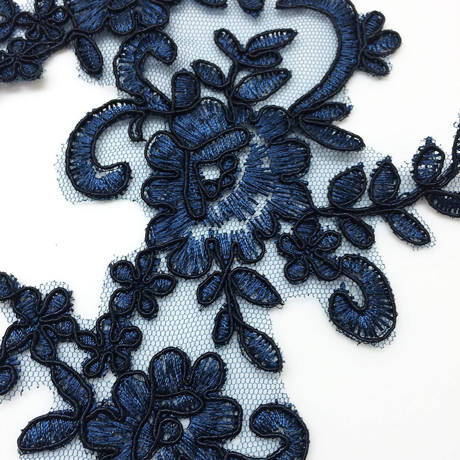 Navy 10 X 6 Inch PEPPERLONELY 1 Pair Fine Lace Fabric Patches Embroidered Trim Applique Decor Dress Decoration