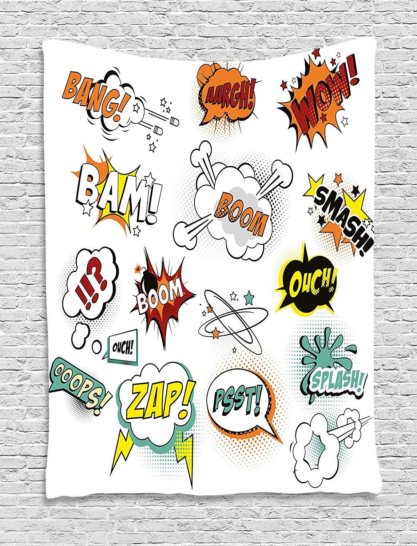 asddcdfdd Superhero Tapestry, Retro Fiction Speech Bubbles Famous Strip Gestures Narrative Webcomics Drawing, Wall Hanging for Bedroom Living Room Dorm, 60 W X 80 L Inches, Multicolor