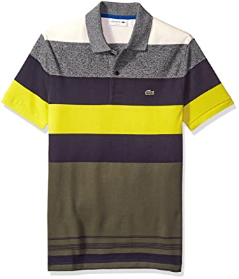 ee8be8f20 Lacoste Men s Short Sleeve Bold Stripe Pique Polo