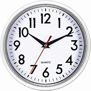 Bernhard Products White Wall Clock 8 Inch Retro Kitchen Silent Non-Ticking Quality Quartz Battery Operated Clock for Home/Office/Classroom/Bathroom/Nursery Room Easy to Read
