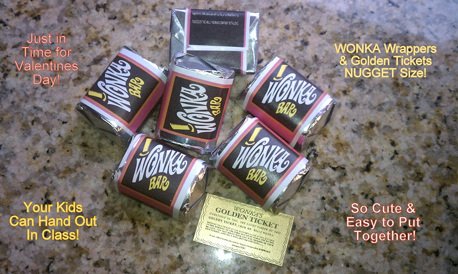 Amazon.com: (30) NUGGET SIZED-WILLY WONKA CHOCOLATE BAR WRAPPERS ...