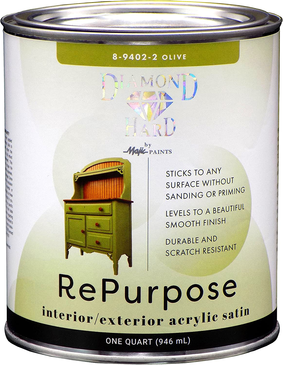 Majic Paints 8-9402-2 Diamond Hard Interior/Exterior Satin Paint RePurpose your Furniture, Cabinets, Glass, Metal, Tile, Wood and More, 1-Quart, Olive Green