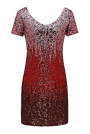e36dec61 Metme Women's Sequin Cocktail Dress Shimmer Glam Short Sleeve Glitter Midi  Bodycon Party Clubbing Dress X