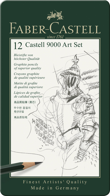 12 Lapices Negros de grafito 2H a 8B Serie 9000
