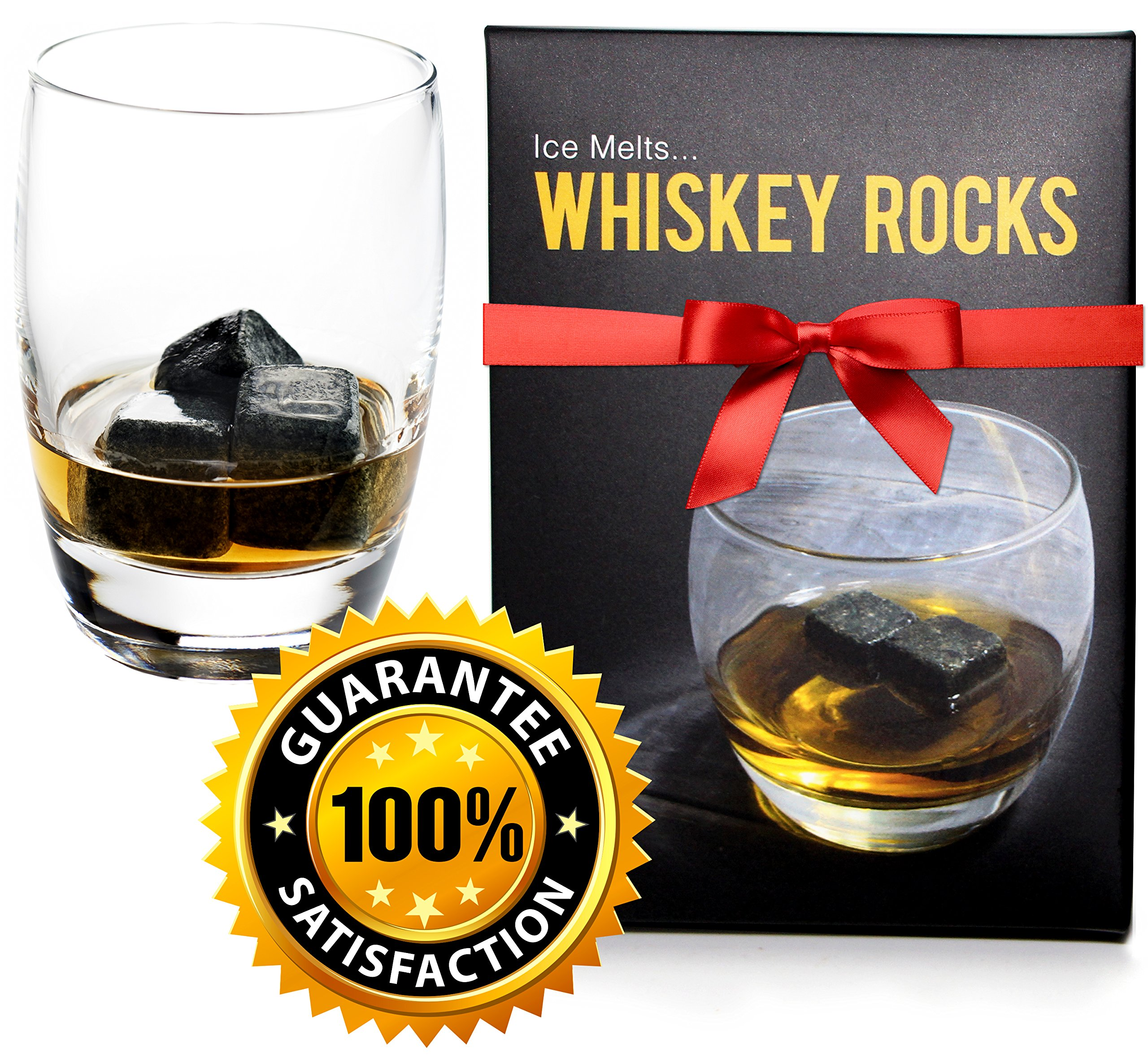 Whiskey Rocks - Premium Granite Whiskey Stones Set Black - Pure Granite - Set of 9 Whisky Chilling Stone
