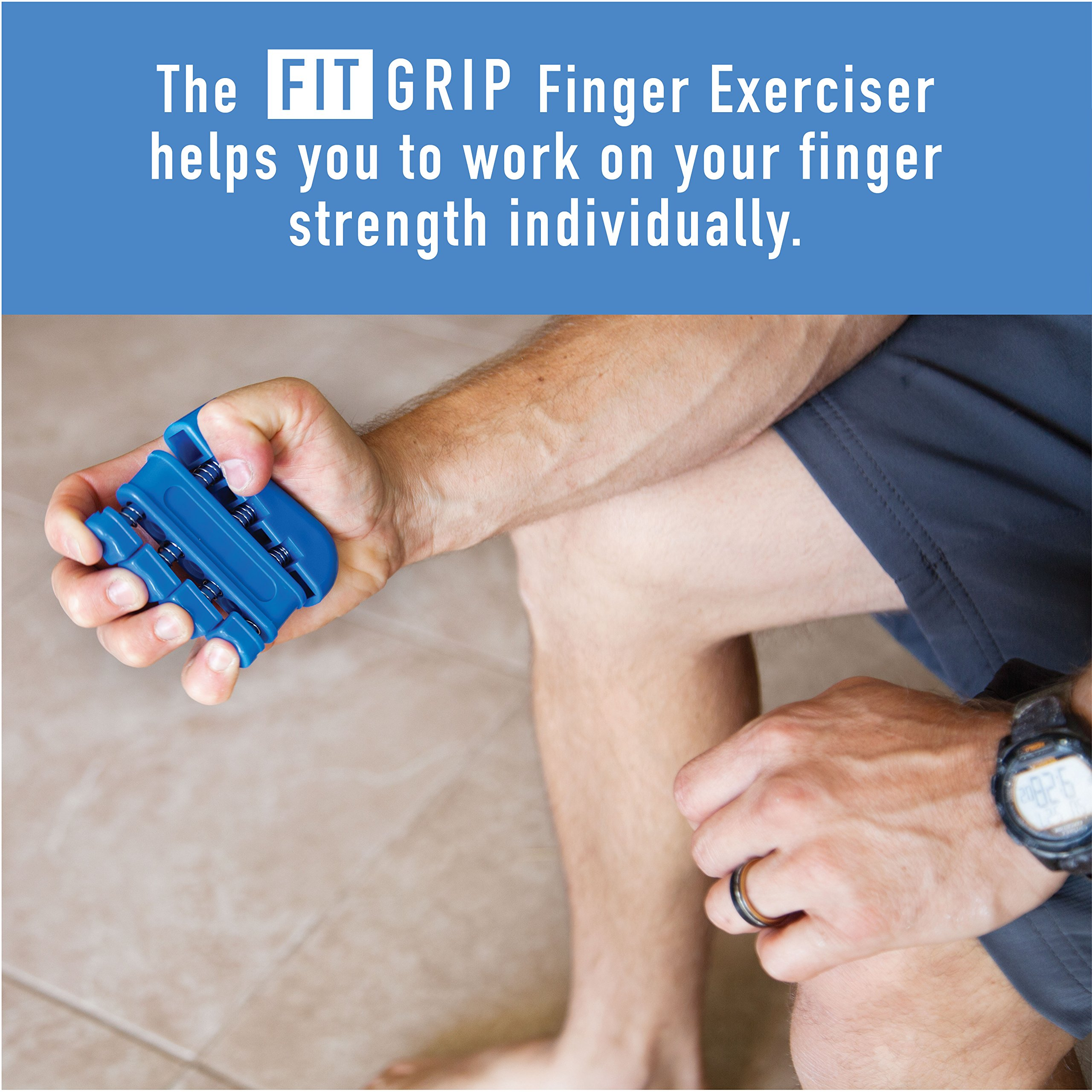 Hand Grip Strength and Forearm Trainer 4-Pack Bundle: Resistance Grip Strengthener, Finger Trainer, Finger Exerciser Stretcher, Grip Ring | Ideal for Athletes, Therapy for Arthritis, Carpal Tunnel by Fit Grip (Image #4)