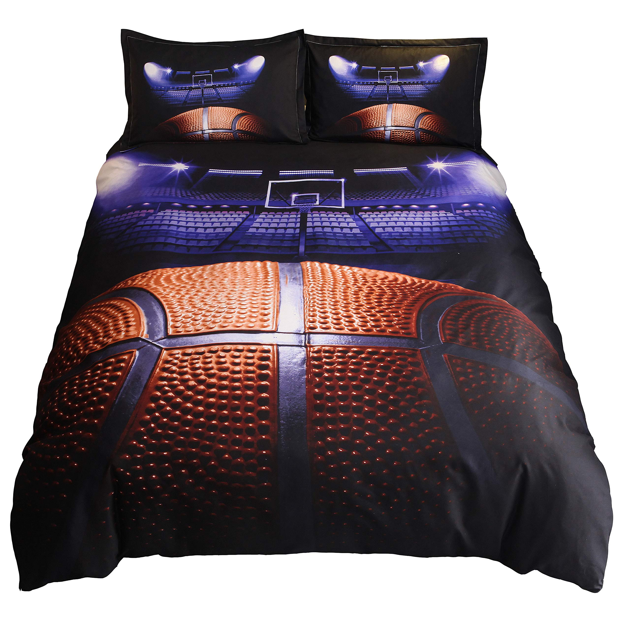 HTgroce 3D Sports Basketball curt Bedding Set for Teen Boys,Duvet Cover Sets with Pillowcases,Queen Size,3PCS,1 Duvet Cover+2 Pillow Shams,(Comforter not Included)
