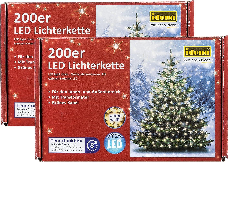 Idena LED Lichterkette 200er, ca. 27,90 m, für innen außen, warm-weiß (200 LEDs, warm-weiß, 2)