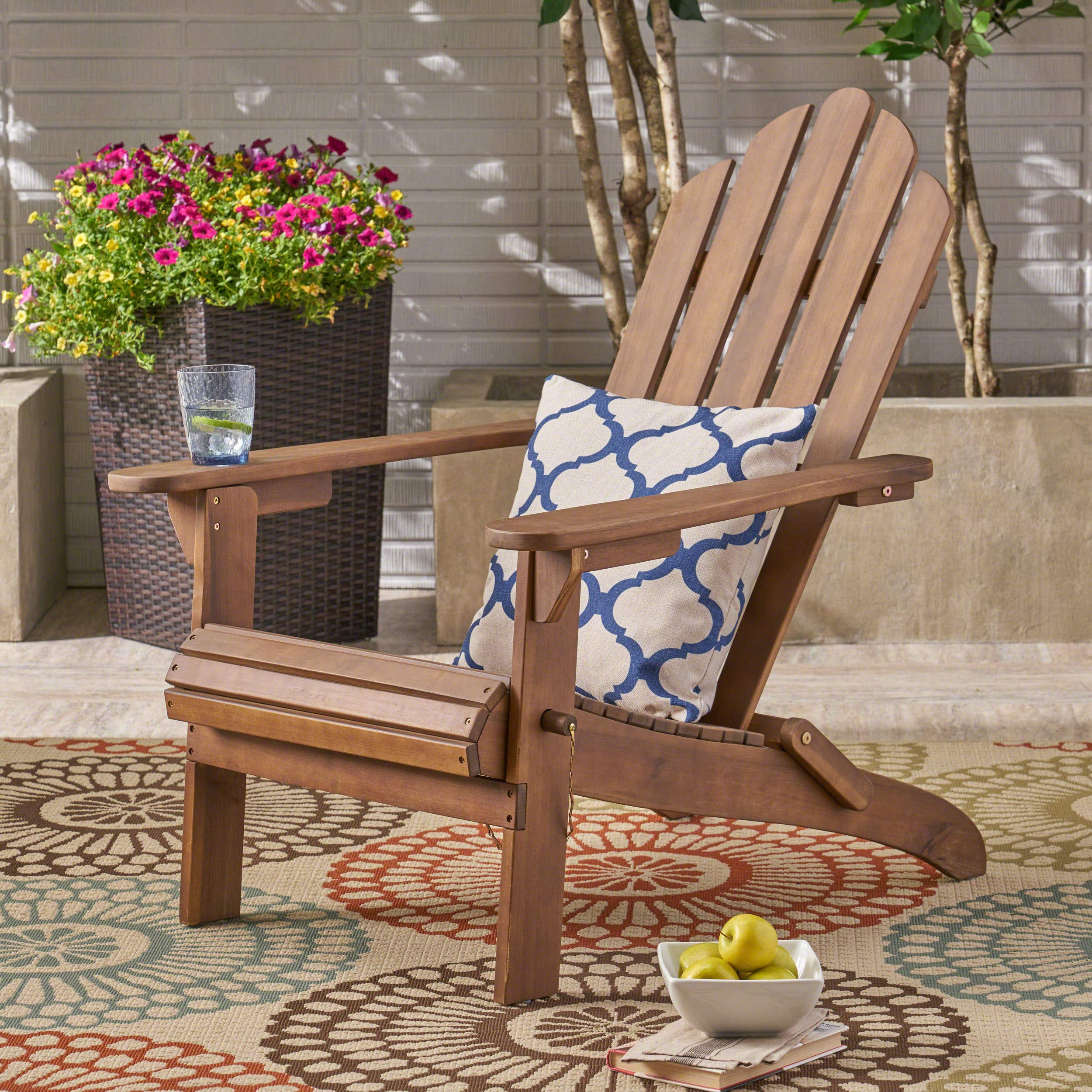 Christopher Knight Home 305374 Cara Outdoor Foldable Acacia Wood Adirondack Chair, Dark Brown Finish by Christopher Knight Home