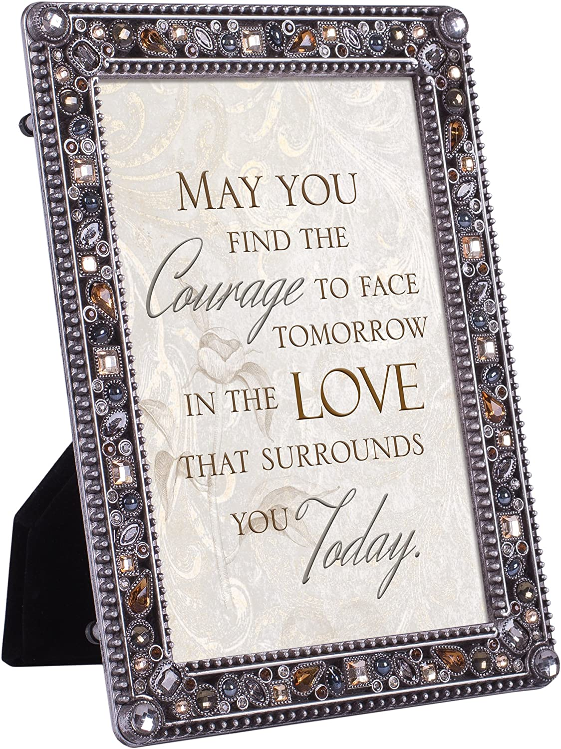 Cottage Garden Courage Tomorrow Love Surrounds Jeweled Pewter Finish 4x6 Photo Frame Plaque