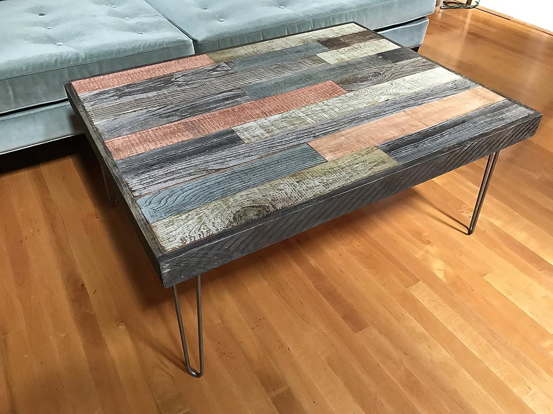 Beautiful Barnwood Coffee Table with Mid Century Modern Hairpin Legs. 42