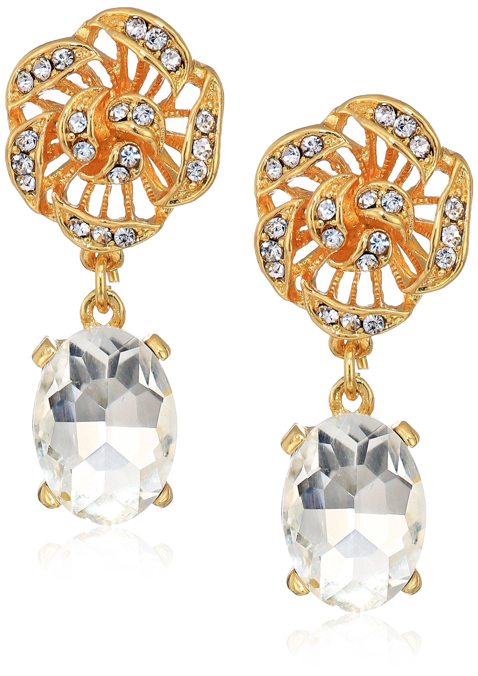 Badgley Mischka Women's Flower Top Crystal Gold Drop Earrings, One Size